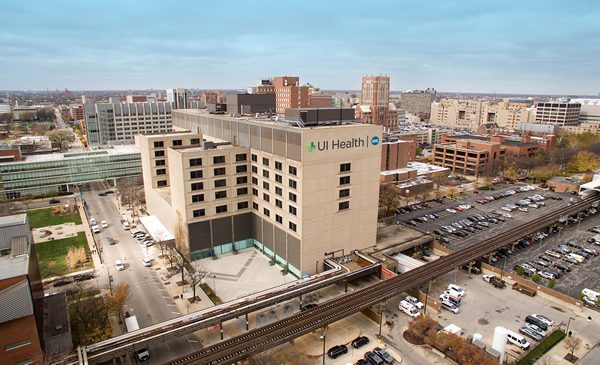 Drone view of hospital.